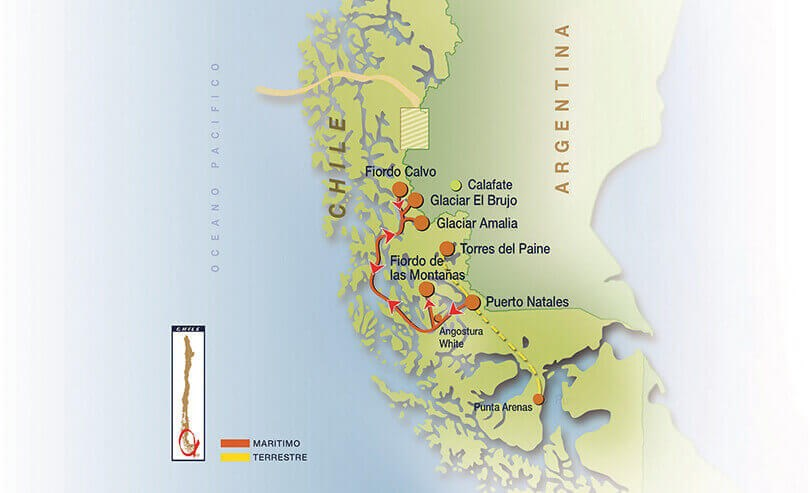 Skorpios III Patagonia Cruise - Route Map