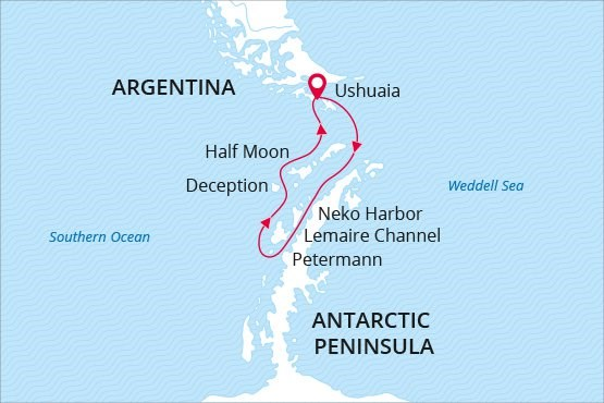 Antarctica cruise map