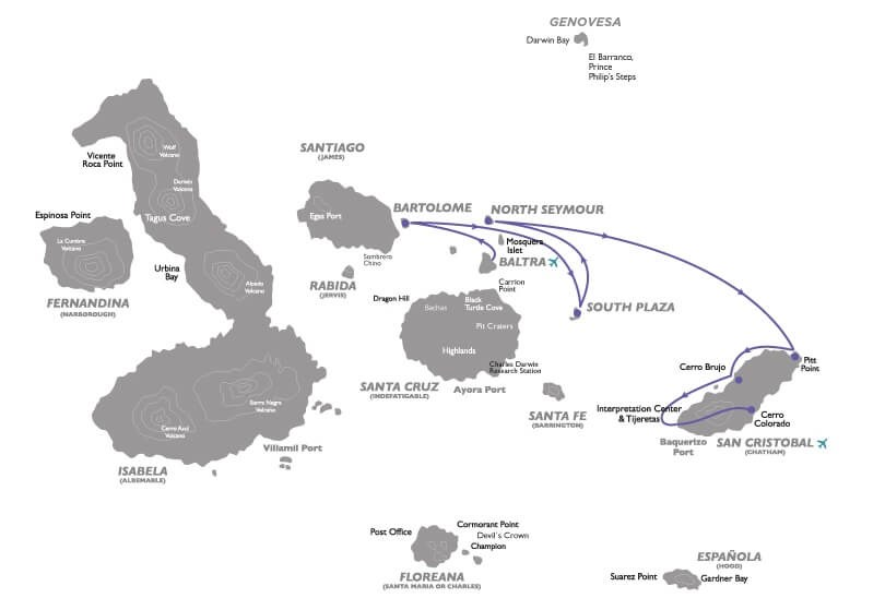 Galapagos Legend East itinerary