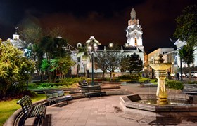 Frank Ecuador Quito Quito Gerden Square By Night With Church