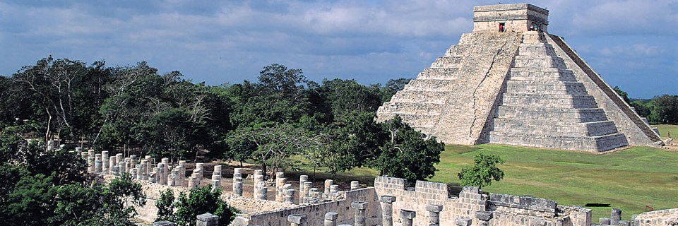 Chichen-Itza Mayan archaeological site and pyramids